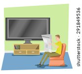 man reading newspaper with tv... | Shutterstock .eps vector #291849536