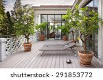 beautiful balcony with sunbeds... | Shutterstock . vector #291853772