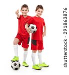 standing two young soccer...   Shutterstock . vector #291863876
