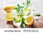 refreshing iced mint tea with... | Shutterstock . vector #291913412