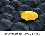 unique yellow umbrella among... | Shutterstock . vector #291917768