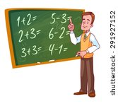 cartoon teacher stands near the ... | Shutterstock .eps vector #291927152