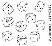 vector set of line art dices. | Shutterstock .eps vector #291947852