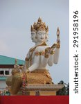 Small photo of Chachoengsao, Thailand - May 4, 2015: The biggest Brahma, the Hindu God of Creation, is located at Samanrattanaram Temple.