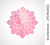 Watercolor Pink Lotus. Orienta...
