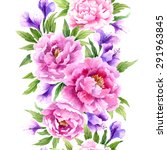 floral seamless watercolor... | Shutterstock .eps vector #291963845