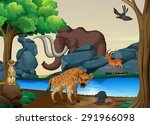 poster of wild animals at the...   Shutterstock .eps vector #291966098