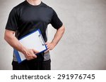 personal trainer  with a pad in ... | Shutterstock . vector #291976745