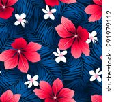 tropical red hibiscus flowers... | Shutterstock .eps vector #291979112