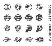 globe icons  mono vector symbols | Shutterstock .eps vector #291988802
