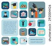 higher education icons flat set
