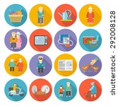 pensioners life style icons... | Shutterstock .eps vector #292008128