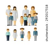 family kids parents flat people ... | Shutterstock .eps vector #292017518