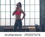 wow  that felt good. a woman... | Shutterstock . vector #292027676