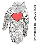 hand holding heart zentangle...   Shutterstock .eps vector #292034606