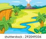 prehistoric landscape | Shutterstock .eps vector #292049336