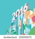 2016 buildings and city skyline ... | Shutterstock .eps vector #292055075