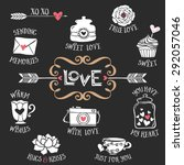 hand drawn decorative love... | Shutterstock .eps vector #292057046