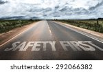 safety first written on rural... | Shutterstock . vector #292066382