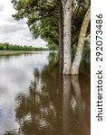 Small photo of May 30, 2015 - Addicks Reservoir Park, Houston, TX: Standing flood waters over roads and fields at Addick's Reservoir in Houston, Texas