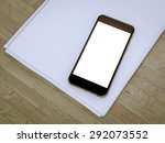 blank stationery set on wood... | Shutterstock . vector #292073552