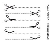 vector scissors cut lines | Shutterstock .eps vector #292077992