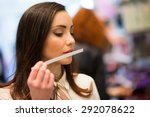woman smelling a perfume tester ... | Shutterstock . vector #292078622