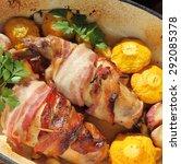 rabbit legs wrapped in bacon ... | Shutterstock . vector #292085378