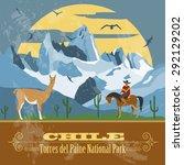 Chile Landmarks. Retro Styled...