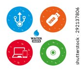 Water Drops On Button. Usb...