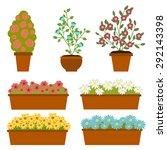 vector set of pot with flower.... | Shutterstock .eps vector #292143398