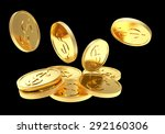 Falling Golden Coins Close Up...