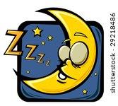 cartoon sleeping moon | Shutterstock .eps vector #29218486