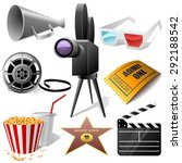 cinema symbols set isolated on... | Shutterstock . vector #292188542