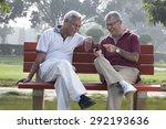 old men reading an sms | Shutterstock . vector #292193636
