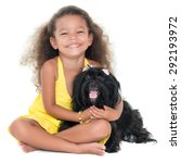 cute small girl hugging her pet ... | Shutterstock . vector #292193972