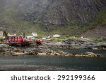 fishing village on lofoten... | Shutterstock . vector #292199366