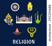 indian religion and culture... | Shutterstock .eps vector #292204688