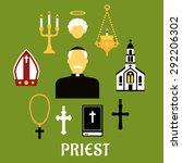 priest profession flat concept... | Shutterstock .eps vector #292206302