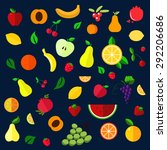 fruits and berries flat icons... | Shutterstock .eps vector #292206686