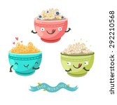 cute porridge characters and ... | Shutterstock .eps vector #292210568
