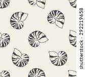 shell doodle seamless pattern...   Shutterstock . vector #292219658
