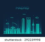 madrid skyline  detailed... | Shutterstock .eps vector #292239998