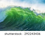 texture of ocean wave at sunset ... | Shutterstock . vector #292243436