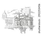 mumbai  india gate and the taj... | Shutterstock .eps vector #292253456