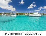 harbor on tropical island with...   Shutterstock . vector #292257572