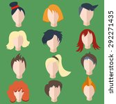 set isolated of stylish  faces  ... | Shutterstock .eps vector #292271435