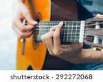 Hand Playing On Acoustic Guitar ...