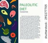 paleo diet. background of meat  ...   Shutterstock .eps vector #292277705