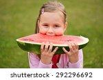 cute little girl eating...   Shutterstock . vector #292296692